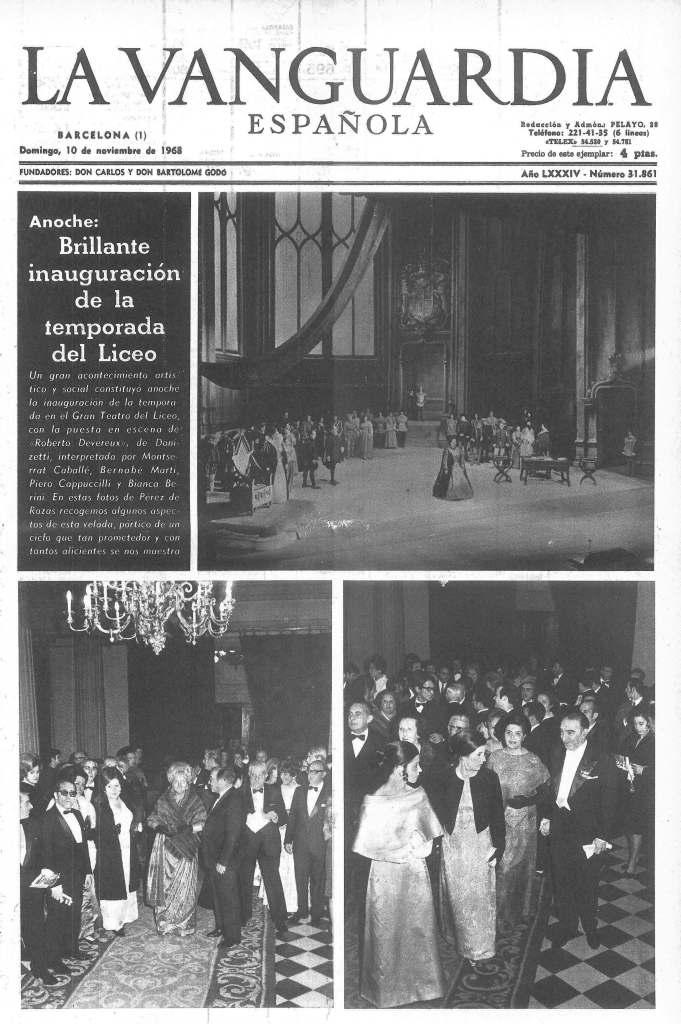 Inauguración de la temporada 1968-69 del Gran Teatro del Liceo con la recuperación de Roberto Devereux cantado por Montserrat Caballé