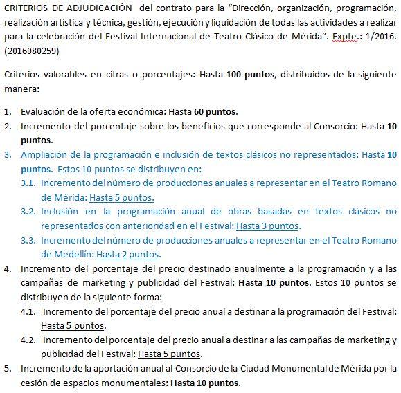 Criterios de adjudicación. De los 100 puntos posibles, solo 10 son criterios artísticos y el resto puramente económicos